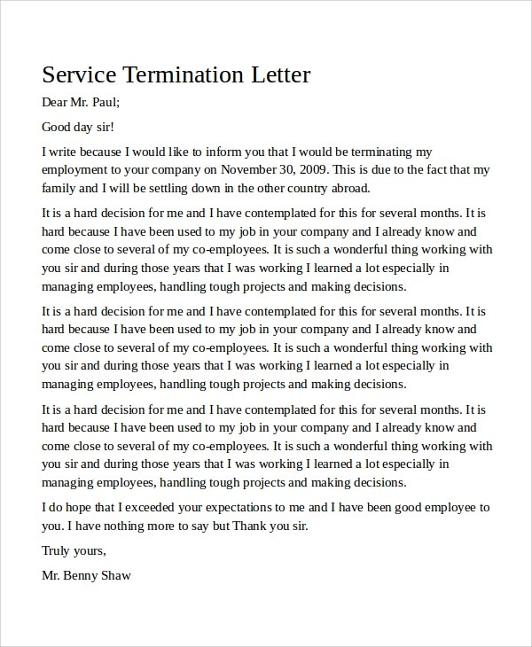 Business Letter Format Sample Termination Letter 9 Examples In Word Pdf