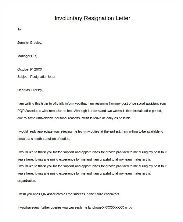 10+ Sample Resignation Letters Sample Templates - example of resignation letters