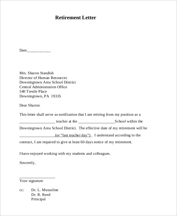How To Write A Resignation Letter For Salary Not Paying Sample Retirement Letter 10 Examples In Pdf Word