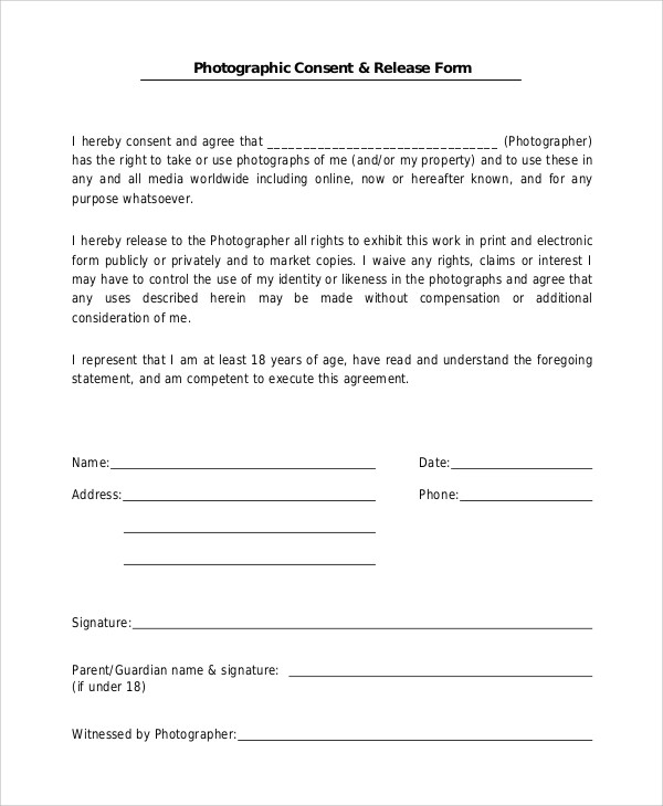 Talent Release Form Free Printable Video Or Film Release Talent