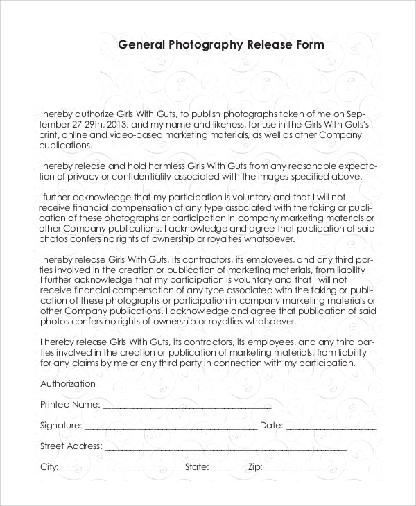 Sample Photography Release Form - 10+ Examples in PDF, Word - general liability release form template