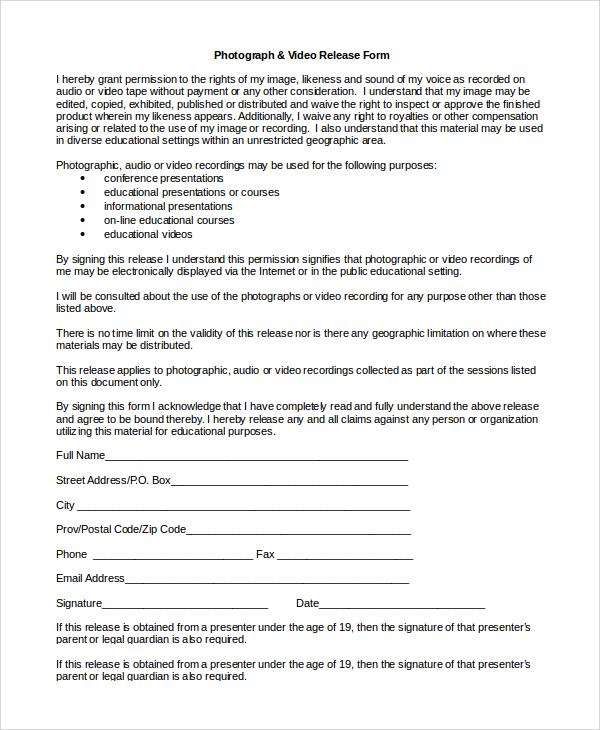 photography video release form - Mersnproforum