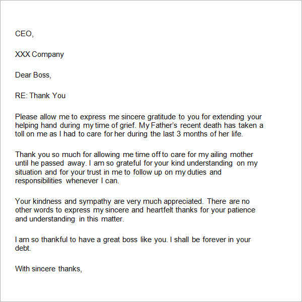 Sample Thank You Letter to Boss - 22+ Free Documents Download in Word - employee thank you letter