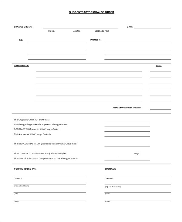 12+ Sample Change Order Forms Sample Templates - sample change order template