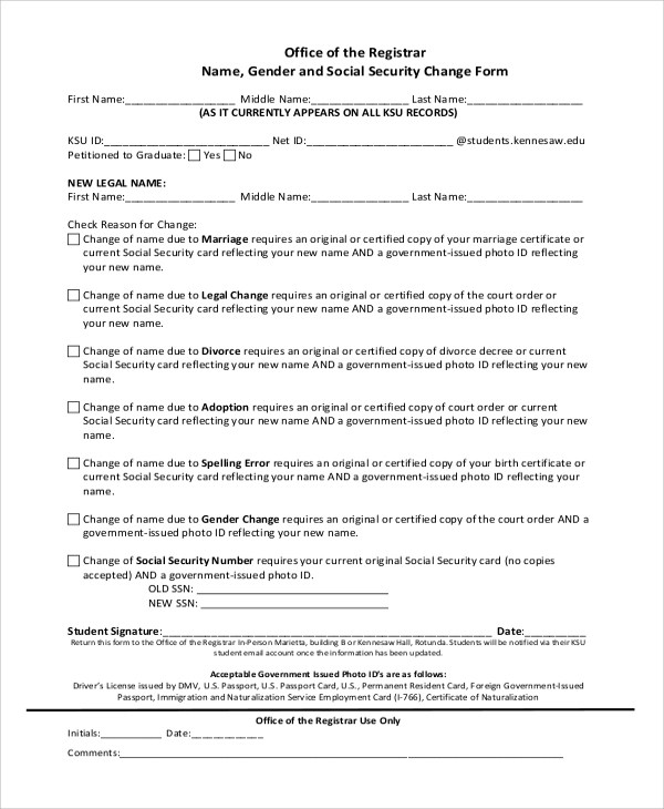 7+ Sample Social Security Name Change Forms Sample Templates