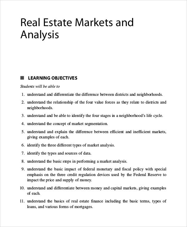 9+ Real Estate Market Analysis Samples Sample Templates - market analysis example