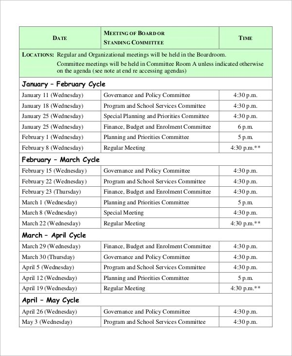 meeting agendas template