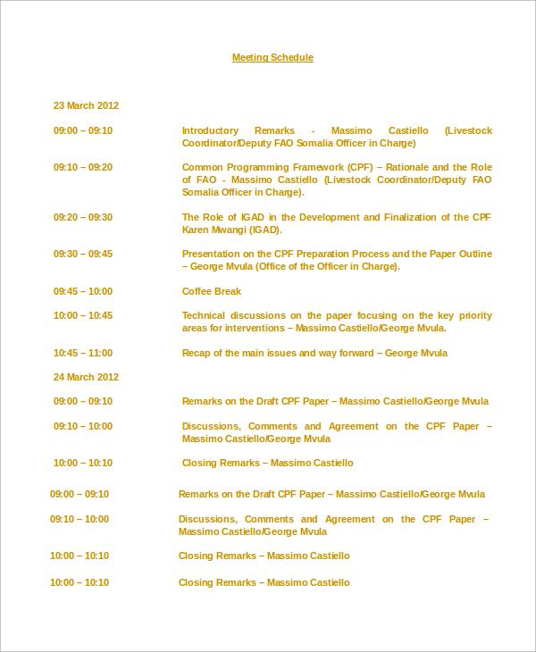 Sample Meeting Schedule - 10+ Examples in Word, PDF