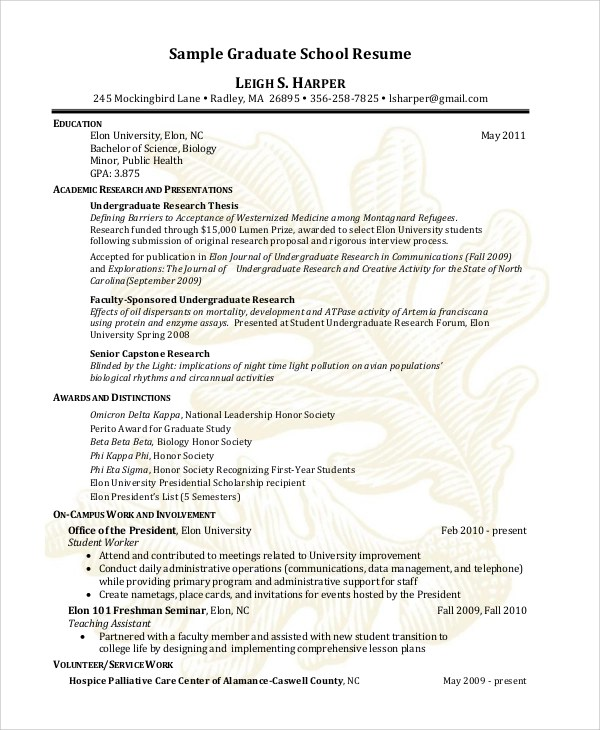 Sample Graduate School Resume - 9+ Examples in PDF, Word