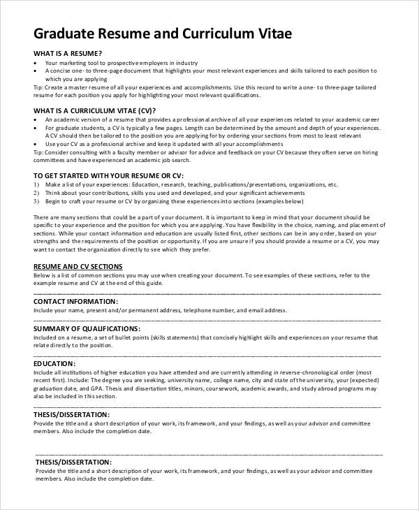 Lovely Graduate School Application Resume Template How to Write A - resume sample for graduate school