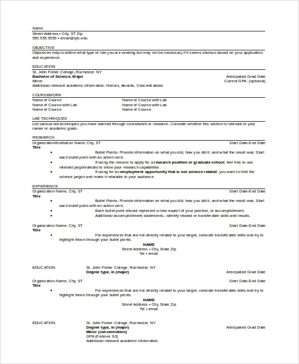 High School Student Resume Objective Statement 6 College Resume