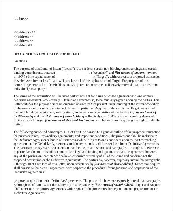 Letter To Shareholders Example 10+ letter of intent examples sample
