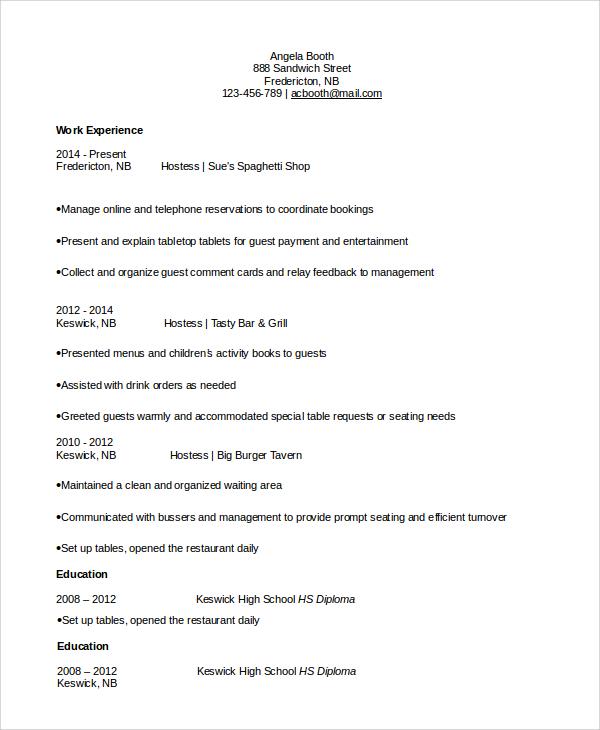 6+ Sample Hostess Resumes \u2013 PDF, DOC Sample Templates - how to organize a resume