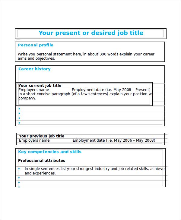 Sample Blank Resume - 9+ Examples in Word, PDF