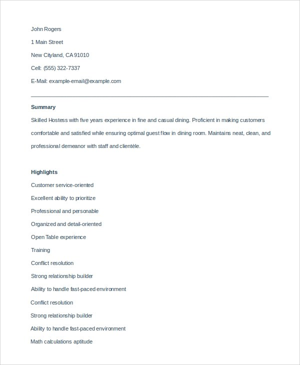 6+ Sample Hostess Resumes \u2013 PDF, DOC Sample Templates