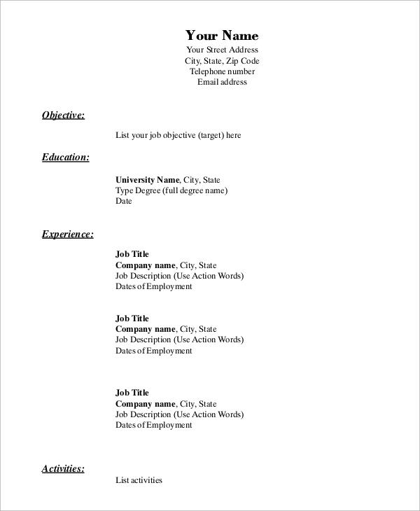 employment examples resume