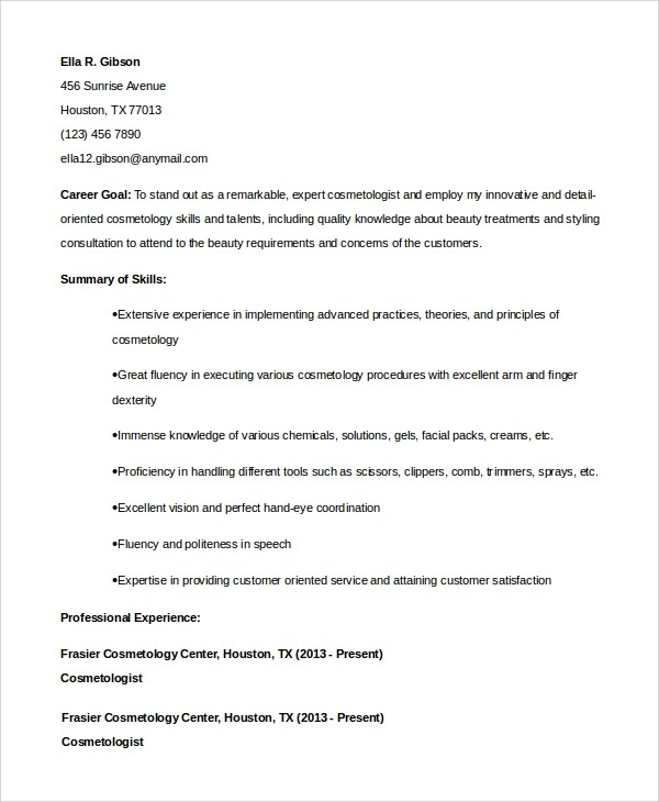 6+ Sample Cosmetology Resumes Sample Templates - cosmetology resume skills
