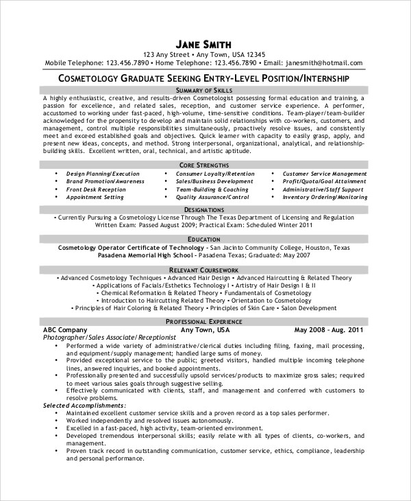 6+ Sample Cosmetology Resumes Sample Templates - examples of cosmetology resumes