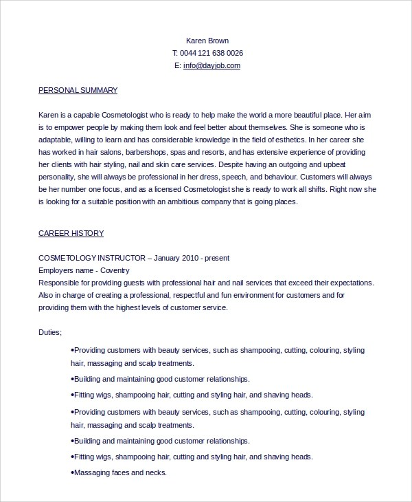 High School Resume Example With Summary The Balance Sample Cosmetology Resume 6 Examples In Pdf Word