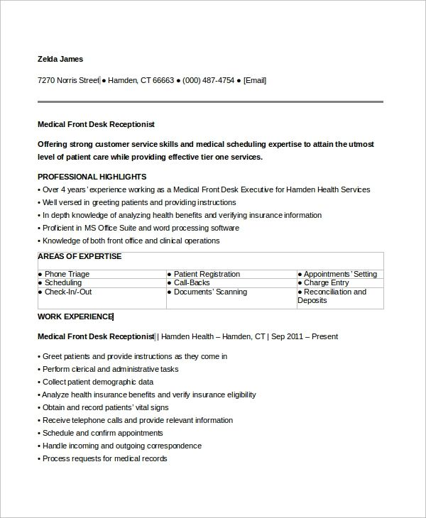 resume examples receptionist objective