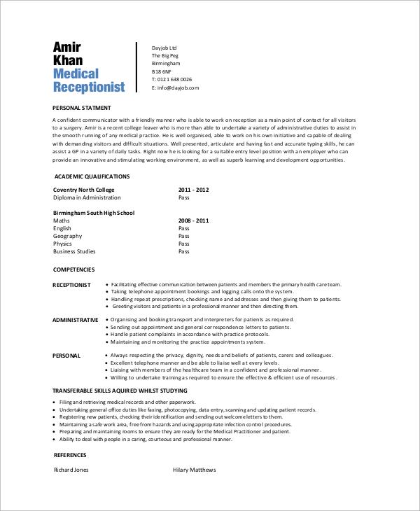 6+ Sample Medical Receptionist Resumes Sample Templates - resume receptionist