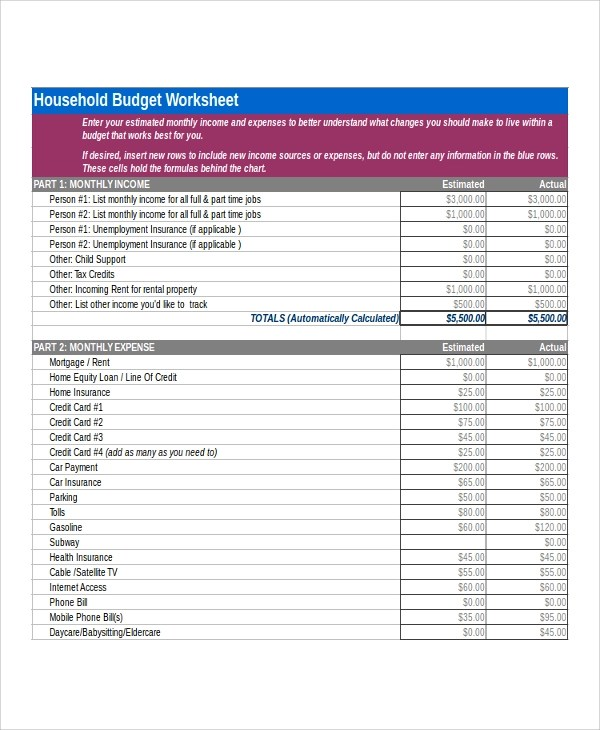6+ Sample Home Budget Worksheets Sample Templates - home budget worksheet free