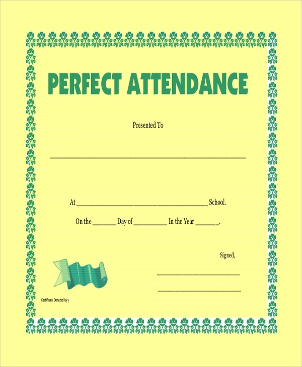 Free Printable Perfect Attendance Certificate Template D - mandegarinfo - Free Printable Perfect Attendance Certificate