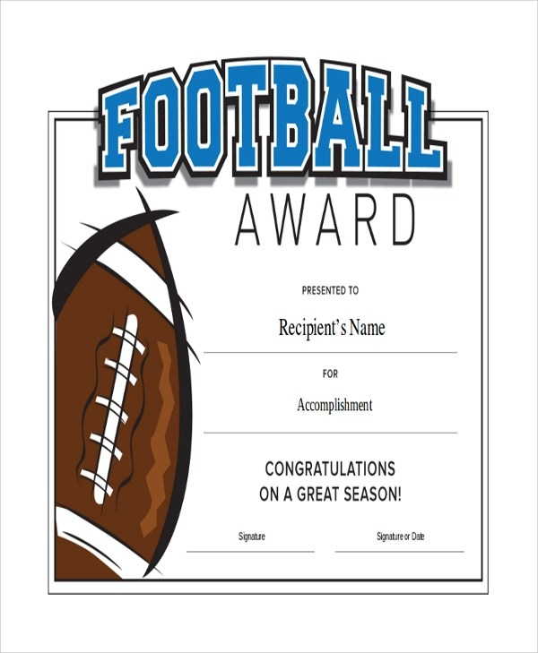 43+ Sample Certificates Sample Templates - football certificate template