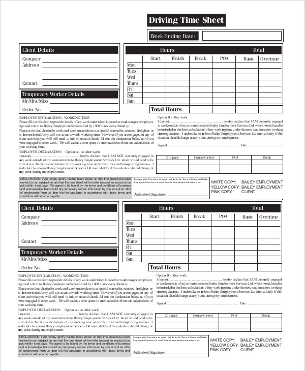 Sample Printable Time Sheet - 9+ Examples in PDF, Word, Excel