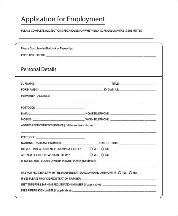 10+ Sample Printable Job Application Forms Sample Templates