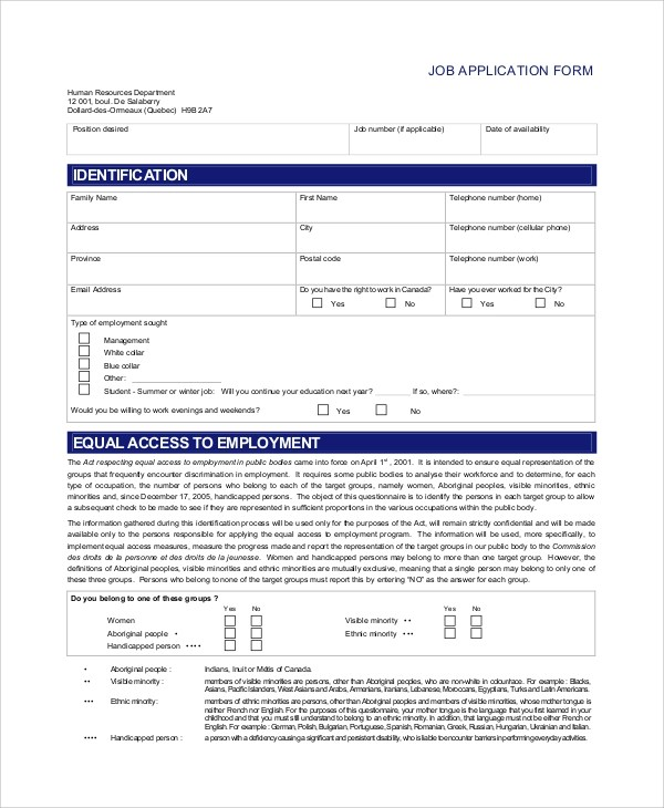 printable employment application – Printable Job Application Form