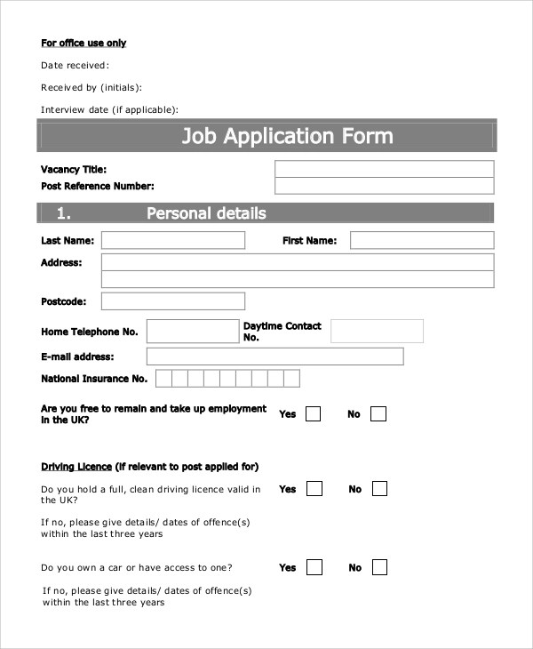 10+ Sample Printable Job Application Forms Sample Templates - printable application for mployment