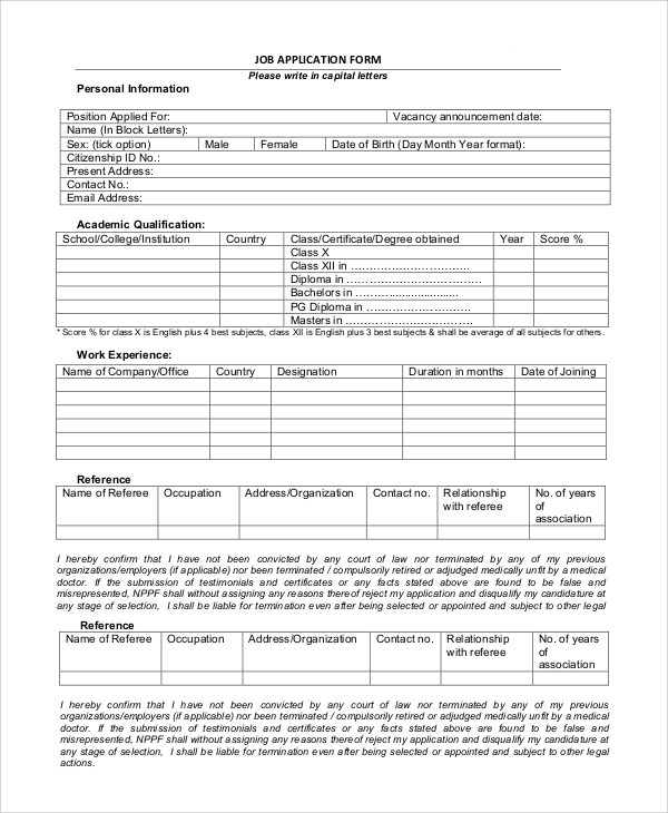 Job Application Printable Sample Job Application To Print - printable job application form