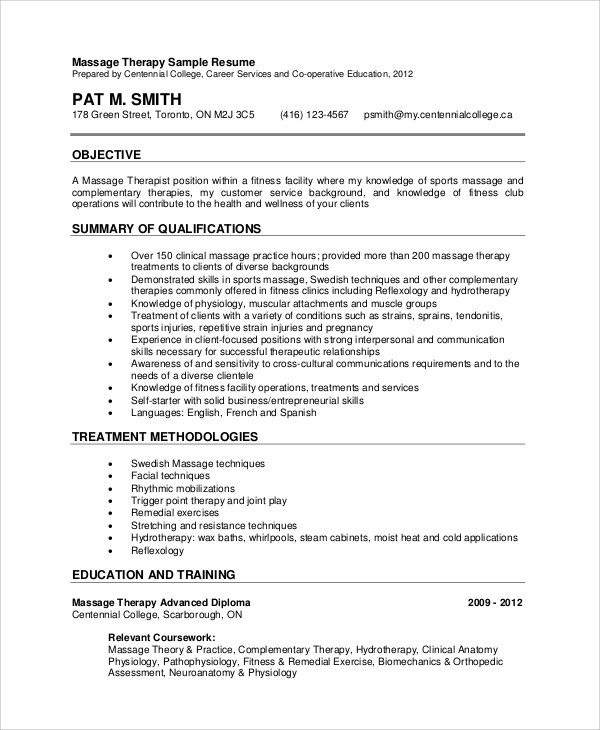 Sample Massage Therapist Resume - 7+ Examples in PDF - sample massage therapist resume