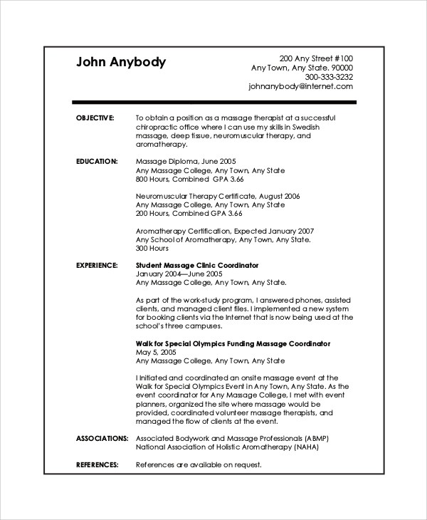 Sample Massage Therapist Resume - 7+ Examples in PDF - Massage Therapist Resume Objective