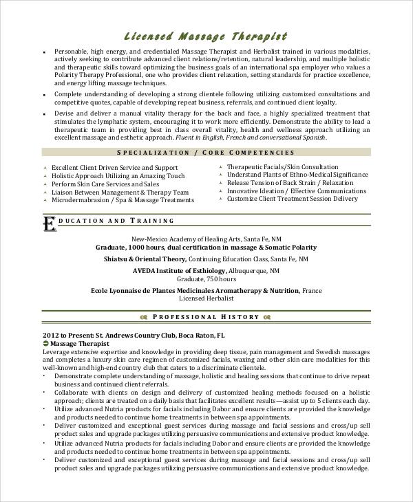 7+ Sample Massage Therapist Resumes Sample Templates - licensed massage therapist resume