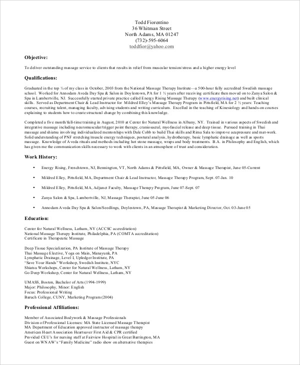 7+ Sample Massage Therapist Resumes \u2013 PDF, DOC Sample Templates - Massage Therapist Resume Objective