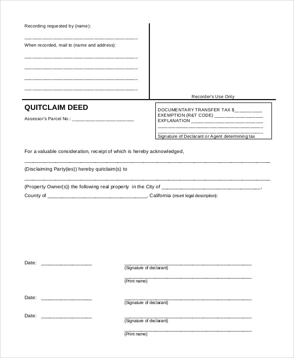 8+ Sample Quit Claim Deed Forms Sample Templates