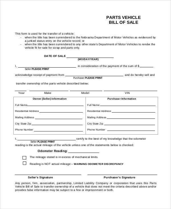 printable vehicle bill of sale pdf