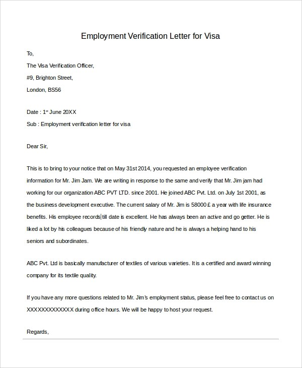Sample Letter of Employment Verification - 10+ Examples in PDF, Word