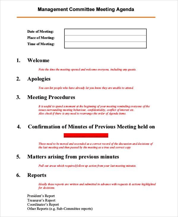 Sample Meeting Agenda - 10+ Examples in PDF, Word