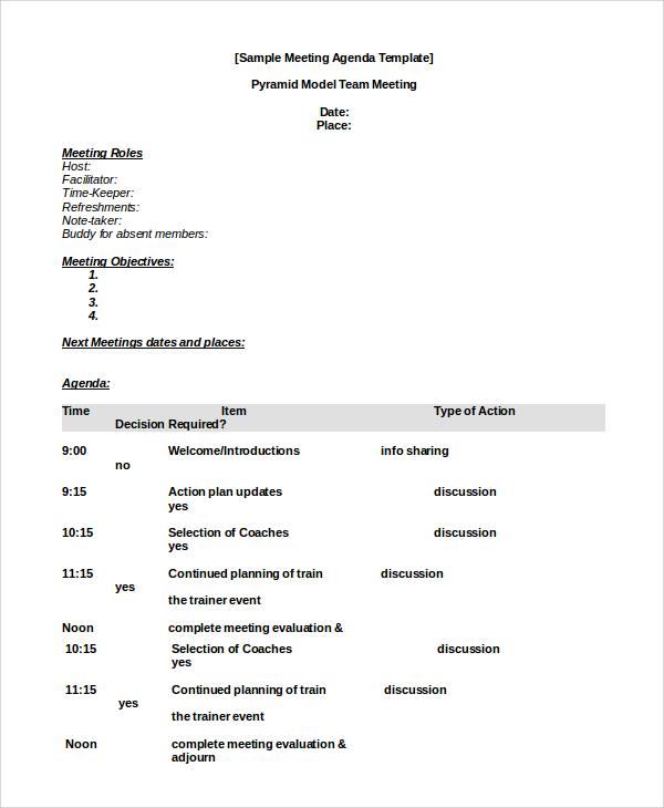 meeting agenda formats