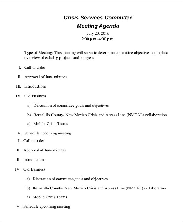 Sample Meeting Agenda - 10+ Examples in PDF, Word