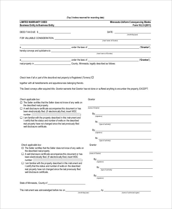 Sample Warranty Deed Form - 10+ Examples In Word, PDFsample