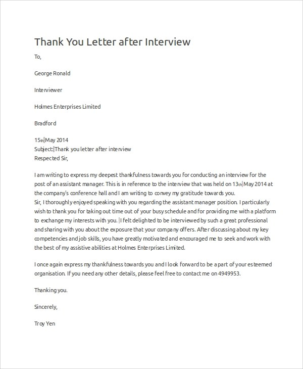 10+ Sample Interview Thank You Letters Sample Templates