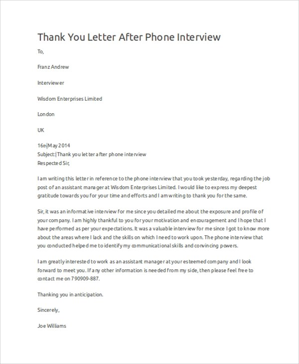 10+ Sample Interview Thank You Letters Sample Templates - Sample Thank You Letter After Interview