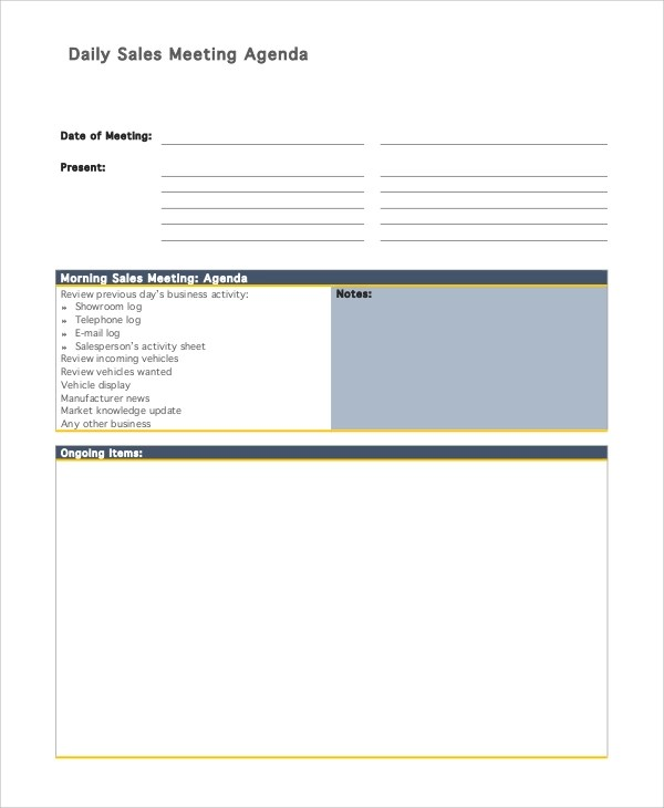 Sample Daily Agenda - 8+ Examples in PDF