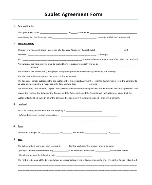 Sample Lease Agreement Form - 10+ Examples in PDF, Word - sample lease agreement form