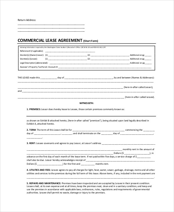 Sample Lease Agreement Form - 10+ Examples in PDF, Word - sample owner operator lease agreement