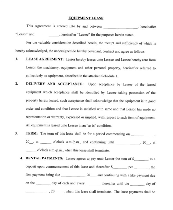 10+ Sample Lease Agreement Forms Sample Templates